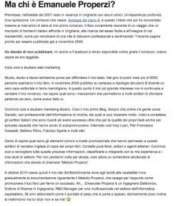 Emanuele Properzi posta sul Blog di Gavello, uno dei massimi esperti di Blog Marketing