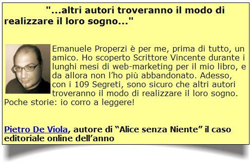 """De Viola - Testimonianza sui """"109 Segreti..."""" di Properzi"""