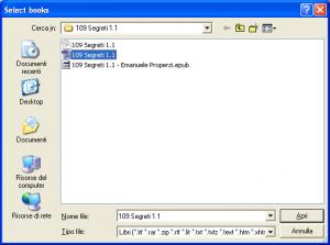 Calibre 3 scegli file pdf