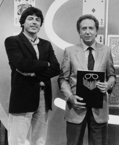 Alessandro Ippolito con Mike Bongiorno alla trasmissione Telemike