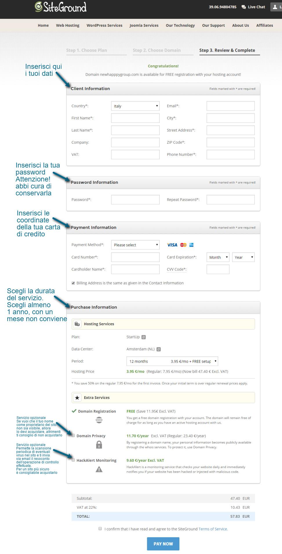 Pagina su Siteground per l'inserimento dei dati dopo aver scelto il dominio