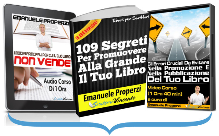 3 corsi marketing librario ebook video audio