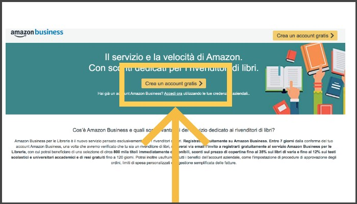Home Page Amazon Business per le librerie tasto di accesso