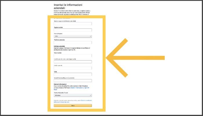 Inserimento Informazioni Aziendali Amazon Business per le librerie