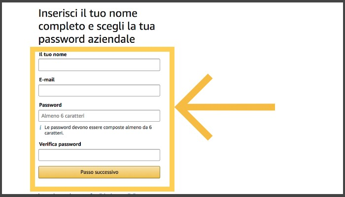 Inserimento Nome Password Amazon Business per le librerie