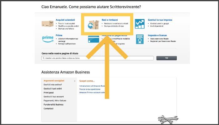 Resi Amazon Business per le librerie pagina Assistenza